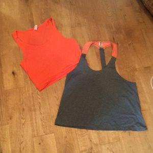 LOT 2 orange tangerine workout shirts